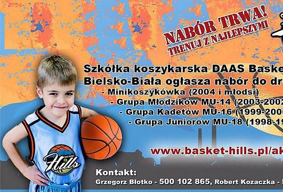 Szkółka koszykarska DAAS Basket Hills ogłasza nabór do grup: