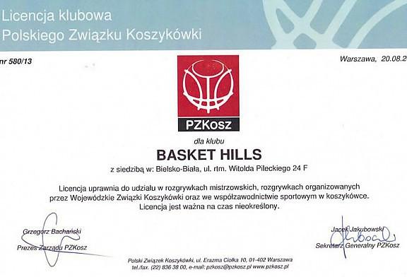 Licencja PZKOSZ dla Basket Hills!