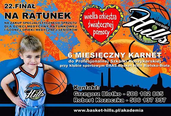 DAAS Basket Hills Bielsko-Biała wspiera 22 finał Wielkiej Orkiestry Świątecznej Pomocy.